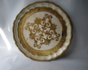 Vintage White and Gold Florentine Small Tray