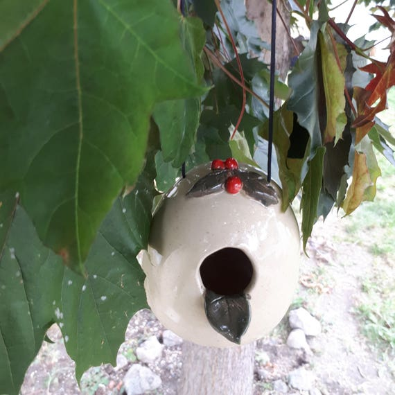 Pottery Bird house with detailed leaves and  Cherries handmade perfect for tiny birds with suede cord