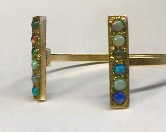 Summer SALE Multi opal brass cuff bracelet