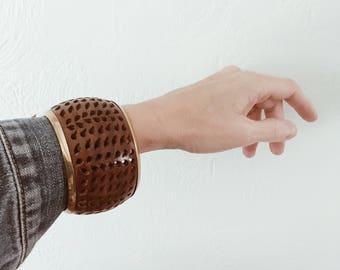 Vintage carved wood wide bangle, vintage wooden bracelet , carved bangle, wide boho bracelet , boheme style bangle