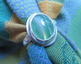 Banded Green Agate in Argentium Sterling Ring, Size 4 & a Half