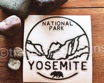 "Yosemite half dome decal sticker National Park California 3.25"" Valley El Capitan yeti tumbler car laptop, wedding favors glacier point"