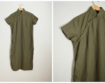 vintage 40s 50s olive green cheongsam quinpao dress -- womens 37-38-40
