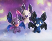 Made to Order Bat Plushie Stuffed Animal | Galaxy and Constellation Pattern Bat Plush Kawaii Style Handmade