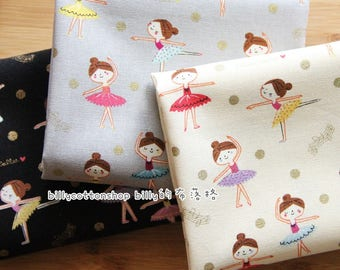 billycottonshop - m349_55 - ballet girls and dots fabrics - cotton linen fabrics - half Yard ( 3 color)