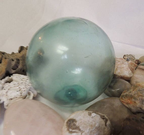 Vintage Japanese GLASS FISHING FLOAT Lightly Sand Etched, Frosted & Marked (No. 30)