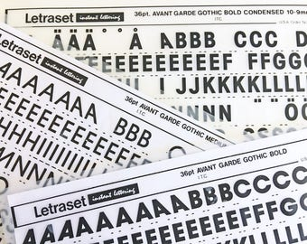 AVANT GARDE GOTHIC Bold Condensed 36 point is a  Vintage Letraset Instant Lettering Rub Off Alphabet Sheets
