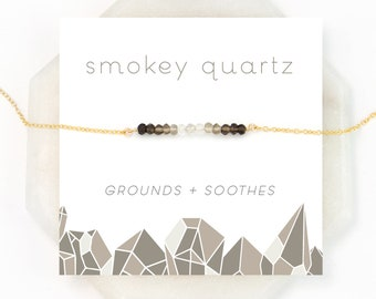 Simple Delicate Beaded Necklace, Smokey Quartz, Ombre Jewelry, Healing Stone, Meditation Jewelry, Boho Necklace, Thin Layering Bar Necklace