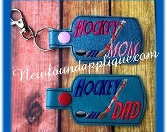 In The Hoop Hockey DAD, MOM, MUM Key Fob EMbroidery Machine Design set