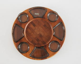 Original Large Danish Teak Tray and Glass Inserts LAZY SUSAN - Digsmed