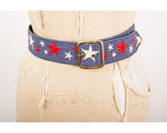 1970s star belt / Vintage denim patriotic snap belt with embroidered red and white stars S M