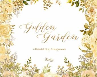 Gold drop arrangement clipart, gold rose clipart, floral roses clipart, gold roses png, autumn rose drops, watercolor clipart, fall clipart