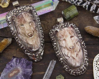 "Bear in Bone : Nepali Silver Bezel Set, Relief Carved Pendant, Bohemian, Western, Animal Inspired Jewelry Making, Nature Fashion, 4"", 1 pc"