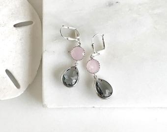 Bridesmaid Earrings. Pink Earrings. Gray Charcoal Earrings. Wedding Jewelry. Bridal Earrings. Pink Dangle Earrings. Bridesmaid Gift. Bridal.