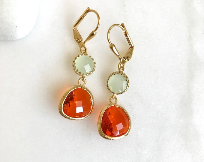 Orange and mint green summer dangle earrings in gold. Summer jewelry. Wedding earrings. Drop earrings.
