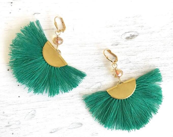 Green Tassel Chandelier Earrings.  Dangle Earrings.  Statement Earrings. Jewelry Gift. Gold Tassel Earrings. Chandelier Earrings Gift.