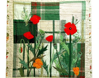 Red Poppies in the garden textile wall hanging