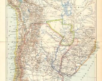 1902 Original Antique Map of Argentina, Chile, Bolivia, Uruguay and Paraguay