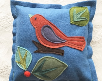 Small felt bird pillow great for accent in kids or babies room or anywhere