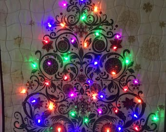 Christmas tree quilt with built in lights, battery operated, 8 modes