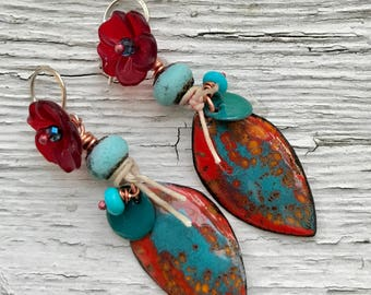City of Angels, artisan enameled copper earrings
