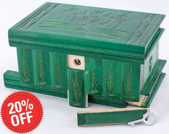 Puzzle  Box Painted Carved Jewelry Box Case Wood Comes With Key, Inside Lock (Green)