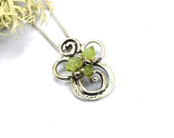 Sterling silver peridot necklace swirls flower pendant peridot  stone pendant, artisan jewelry, August birthstone necklace, gift for her