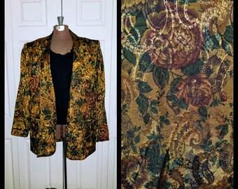 Rich Mans World ........ Vintage 80s blazer / 1980s boyfriend jacket / slouchy oversize boxy / tapestry metallic baroque floral / M L XL OS