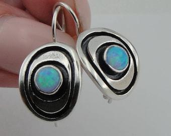 Opal Earrings, israelu jewelry ,Blue Stone Earrings, Fine 925 sterling silver round opal earrings, Hanging Earrings, Woman earrings( vs 43se