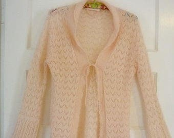 Victoria's Secret Peachy Pink Tie front Sweater Jacket sz S