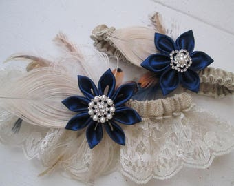 "Navy Blue Garters, Burlap & Lace Wedding Garter Set, Something ""Navy"" Blue, Ivory Lace Garter, Rustic Bridal Garters, Rustic- Country Bride"