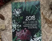 2018 Calendar - What to Look For - Botanical, Local, Seasonal Wall Calendar with Hand-painted Images (leather bound)