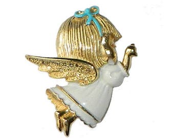 Vintage Little Angel Brooch by Sarah Coventry Mint In Box