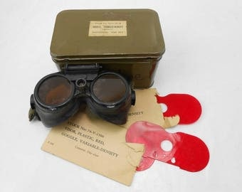 Antique WWII USAAF Variable Density Goggles with Metal Case 74-G-79-40  Variable Density Goggles & Metal Case  74-G-79-40 man cave guy gift