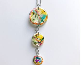 Triple Circle Painted Glass Necklace