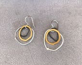 Multiple circle silver earrings - three color earrings -  minimalist silver earrings - Author jewelry