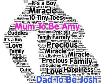 Mum to be Personalised Gift  New Baby, Baby Shower, Word Art Print