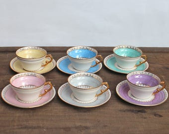 Vintage Coffee set - 6 Coffee cups and saucers - Porcelain cups and saucers pastel colors - LIMT
