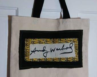 Andy Warhol Banana tote bag salvaged fabric scraps pop Art