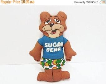 40% OFF NOW Tiny Toy Sugar Bear, Screen Print Teddy Bear, Miniature Stuffed Bear, Cereal Premium, General Mills Premium, Breakfast Cereal So