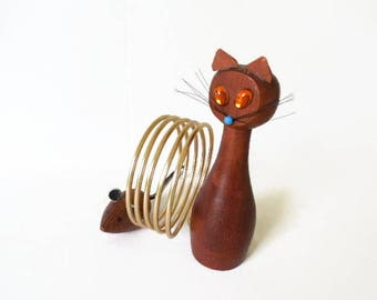 Teak Cat and Mouse Letter Holder, MCM Wood and Wire Letter Rack, Cat and Mouse Desk Accessory, Collectible Knick Knack,  Kitsch Home Decor