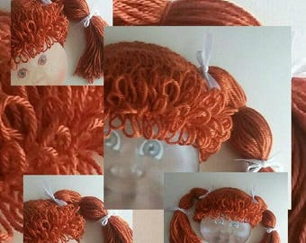 Wig Cabbage Patch Costume Doll Baby Girl Hair Costume Halloween Photo Prop Circumference 17 in Baby Girl Hat Orange Brown Wig Hat Doll Wig