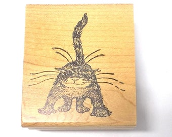 Her kitty kitty Edward Gorey cat rubber stamp wood mounted kidstamps #2042 cats felines Collectible stamps correspondence artist journals