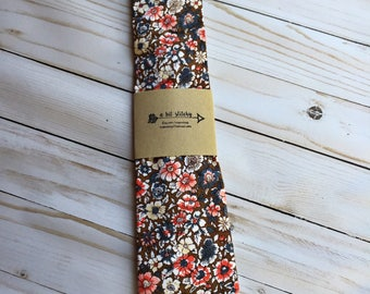 Mens tie vintage style brown,orange, blue and ivory floral fabric, hipster, fun and funky