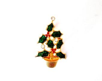 Christmas Holly Berry Tree Brooch Vintage Avon Rhinestone Holiday Pin