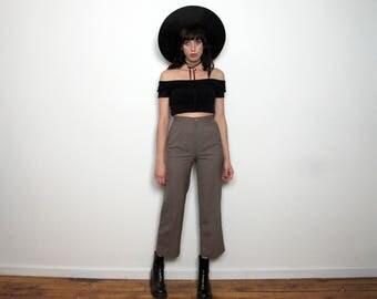 Light Brown HIGH WAIST PANTS Vintage Trousers 90s Womens Straight Leg Size 25