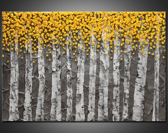 """Large 24""""x36""""x1.5"""" Original Birch Tree Painting - Yellow & Gray - Palette Knife Impasto Textured - Gallery Stretched Canvas  - FREE SHIPPING"""