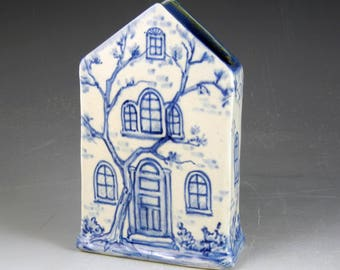 "Ceramic house vase blue and white 6"" tall OOAK hand painted"