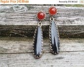 Sale Elegant Black Onyx and Carnelian Earrings