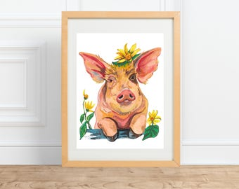 Pig in Flowers, animal portrait, watercolor print by Abigail Gray Swartz